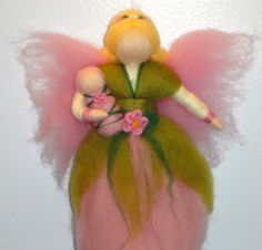 Needle felted Fairy Pink Flower Fairy Summer or by PeachCreation, $29.00 usa