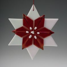 "Items similar to White iridescent and red Fused Glass Poinsettia Ornament 4"", christmas, gifts on Etsy"
