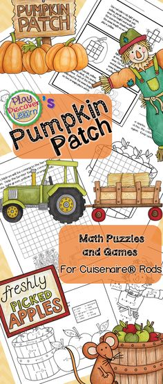 This booklet contains 10 Pumpkin Patch themed activities for your Fall festival that are designed to be used with Cuisenaire® Rods. The activity offers students opportunity to discover and learn through trial and error exploration. Not your average color by sum page, the three Color By Rods activities are designed to give your students a hands on understanding of Algebraic concepts. Students work with the rods to solve for the right color rod. Graphing practice and critical thinking…