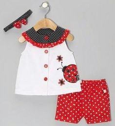 Red & White Polka Dot Ladybug Top Set by Duck Duck Goose Toddler Dress, Toddler Outfits, Baby Dress, Kids Outfits, Little Dresses, Little Girl Dresses, Baby Kids Clothes, Doll Clothes, Baby Kind