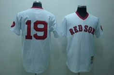 Mitchell and Ness Red Sox #19 Fred Lynn Embroidered White Throwback MLB Jersey! Only $21.50USD