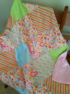 Soft  Minky & Cotton Baby Girl Patchwork by SweetBabyBurpies,