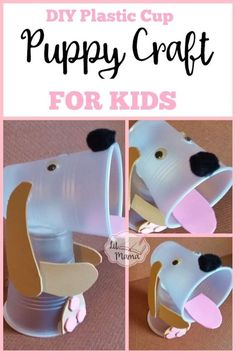 Adorable and fun DIY Plastic Cup Puppy Craft for Kids makes a great hands-on homeschool activity