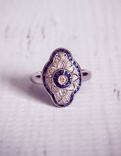 1920's Style Sapphire  Diamond Engagement Ring