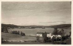 Østfold fylke Hobøl kommune TOMTER. UTSIKT OVER MJÆR. Utg Normann Stemplet 1928