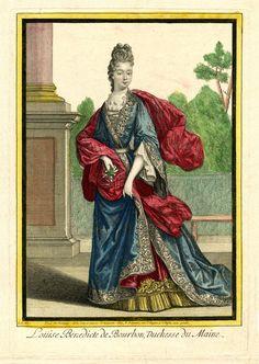 Bourbon, Baroque Dress, 17th Century Fashion, Maine, Saint Jean, Blue Gown, Fashion Plates, British Museum, Portrait