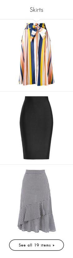 """Skirts"" by modestyiskey ❤ liked on Polyvore featuring skirts, knee length a line skirt, striped a line skirt, striped skirts, stripe skirt, a-line skirt, bottoms, faldas, black and roland mouret skirts"