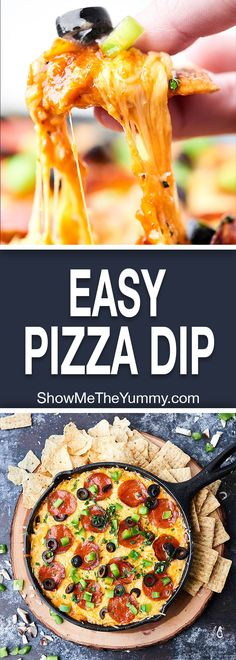 This Loaded Pizza Dip is like supreme pizza in dip form! A cream cheese base topped with sausage, veggies, pizza sauce, pepperoni, and loads of cheese! Easy game day appetizer or snack! showmetheyummy.com #pizzadip #gamedaysnack