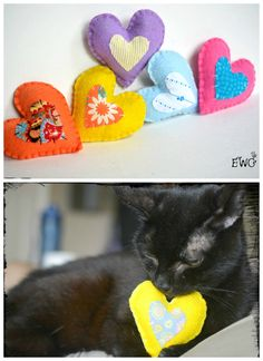 Valentine's Cat Gift Charity Organic Catnip Toy Heart cat toy Colorful Handmade Felt Cat Toy 'Give a heart for animals' Toy for Kitties (5.00 USD) by WorkshopOfOddities