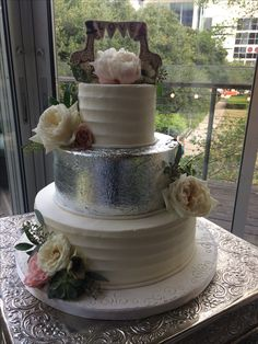 Silver leaf and buttercream icing