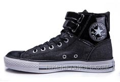 3e2e0c70eb5c Black All Star CONVERSE Double Buckles Chuck Taylor Shiny Leather Canvas High  Tops Sneakers Hot Now RnJ4h
