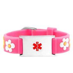 Pretty in Pink Flower Medical Bracelet for Girls