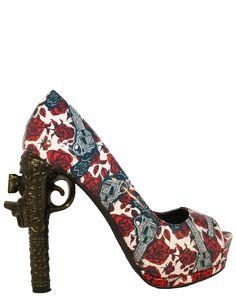 www.inkedshop.com #inkedshop #guns #roses #shoes #heel #toofast #inkedmag #shopping Guns N Roses Gun Heel by Too Fast