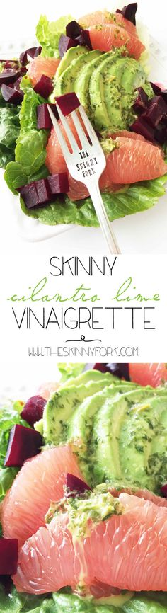 The best Skinny Cilantro Lime Vinaigrette there is! This vinaigrette is a great bright bite to bring in the Spring season with. TheSkinnyFork.com