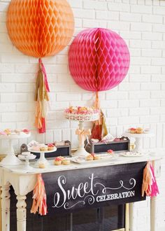 Pen N' Paper Flowers: PARTY STYLING | Orange Sherbet + Pink + Gold Graduation Party