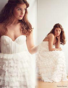 Sarah Seven Everthine strapless rufffe wedding gown