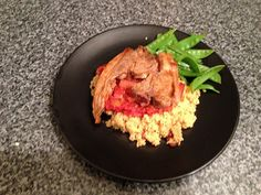 Home-made harissa lamb chops with cous cous and veg