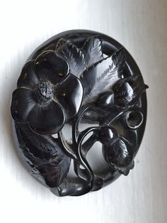 Victorian Whitby Jet Mourning Brooch by victoriansentiments on Etsy