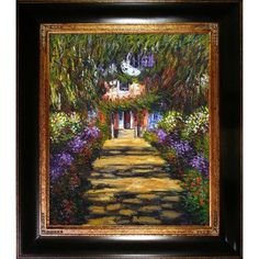 Wildon Home ® 'Garden Path at Giverny' Canvas Art by Claude Monet Impressionism in Opulent Frame
