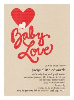 Baby love! Sweet Craft - Baby Shower Invitations in Tomato Red. #babyshower