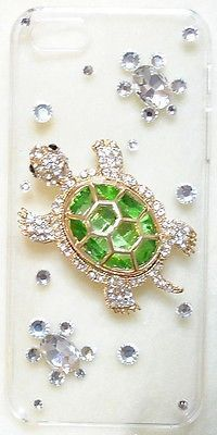 turtle bling   Gorgeous GREEN TURTLE Bling Crystal Clear Case for iPhone 5S & iPhone ...