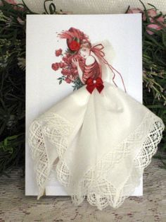 The Christmas Rose Hanky Card by onceuponahanky on Etsy, $10.00