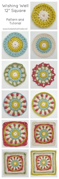 Crochet Granny Square Patterns Wishing Well Crochet Square Moogly CAL 2016 Crochet Motifs, Granny Square Crochet Pattern, Crochet Blocks, Crochet Squares, Crochet Granny, Granny Squares, Mandala Crochet, Crochet Stitches, Moogly Crochet