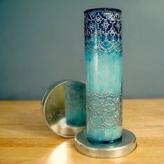tall candle holder in hand painted ombre blue glass