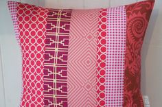 Patchwork Pillow Cover 20x20 pink Fuchsia by HAWThome on Etsy - $29.80