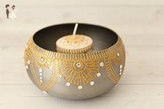 Silver and Golden Henna Art Swarovski Candle Holder - Wedding table decor (*Amazon Partner-Link)