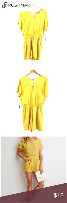 Forever 21 Yellow Romper Forever 21 Yellow Romper - Size XS. Dolman style short sleeve romper featuring V-neckline, elastic waist, front slash pockets, and keyhole with button closure at center back neck. Partially lined. 100% Rayon / 100% Polyester lining Forever 21 Pants Jumpsuits & Rompers