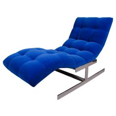 "Mid Century Cobalt Blue Velvet Milo Baughman ""Wave"" Chaise - note: newly upholstered in cobalt blue velvet Vintage Sofa, Vintage Furniture, Cool Furniture, Yves Klein Blue, Milo Baughman, Blue Velvet, Cobalt Blue, Living Room Designs, Mid-century Modern"
