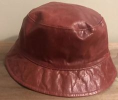 d81df071658a4 Coach Leather Crusher Hat NWT  128 Red Bucket Women s Small  fashion   clothing  shoes