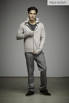 SW109-TAUPE-ZIP HOODED SWEATER // FT103-STEAL-FIELD TROUSER