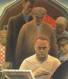 "Grant Wood ""Return from Bohemia"" 1935 (Figge Art Museum, Davenport, Iowa) History Of Modern Art, Art History, Grant Wood Paintings, Painting On Wood, Selfies, Artist Grants, Social Realism, American Gothic, Vintage Artwork"