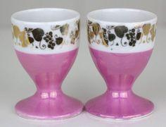 Pair of Pink Luster Pedestal Egg Cup Holders Gold Design Porcelain Lusterware