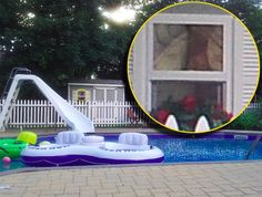"""I took this picture with my cell phone while lying by my pool,"" says Cathy. ""If you zoom in on the window in the pool house, you will see a face looking out at you on the top portion of the window.""  ""I was all by myself sitting by the pool. My husband wasn't home and my son was across the street with his friend. I took the picture so that I could use it as my wallpaper on my work computer. That's when I noticed the face."" - Cathy M"