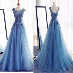 2017 Ball Gown Blue Elegant For Teens Formal Appliqued Long Prom Dresses The long prom dress is fully lined, 4 bones in the bodice, chest pad in the bust, lace up back or zipper back are all available