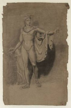 Joseph Mallord William Turner 'Study of the Apollo Belvedere', --- From Studies from the Antique and Other Sculpture --- - Chalk and gouache on paper - Dimensions Support: 461 x 300 mm - Collection - Tate Apollo Mythology, Apollo Belvedere, Joseph Mallord William Turner, Drawing Sketches, Drawings, British Museum, Figurative Art, Study, Artist