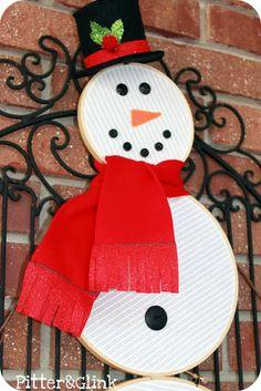 PitterAndGlink: {Embroidery Hoop Snowman}