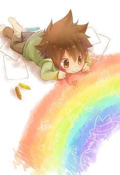 heree we see a cute chibi anime boy drawing on the floor. what a cutie.