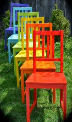 Twig and Toadstool: Rainbow Chairs. Step-by-step tutorial to refinish chairs with rainbow hues. Twig and Toadstool: Rainbow Chairs. Step-by-step tutorial to refinish chairs with rainbow hues. World Of Color, Color Of Life, Rainbow Colors, Vibrant Colors, Rainbow Nails, Refinished Chairs, Taste The Rainbow, Kitchen Chairs, Happy Colors