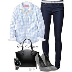 Pale blue gingham work wear by wulanizer on Polyvore featuring Naked & Famous, Charles David, Nixon, Dorothy Perkins, Blue Nile and Stefanel
