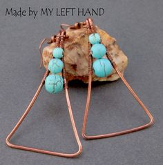 Turquoise And Copper Earrings Triangle Earrings, Turquoise Earrings CopperJewelry Geometric Earrings