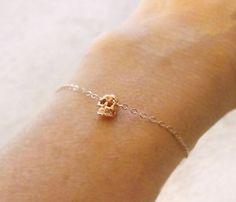Tiny Rose Gold Skull Bracelet//
