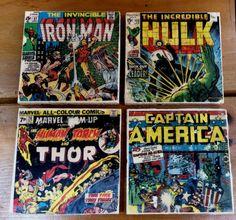 Marvel Comics coasters set of 4 4 x 4 tiles by dreamweaverprints