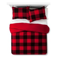 Buffalo Check Flannel Duvet & Sham Set King Red - Threshold