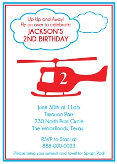 Helicopter Birthday Printable Invitation by MakinMemoriesOnPaper, $10.00