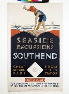 'Southend: Seaside Excursions'. A colour lithograph poster showing a woman in a blue bathing suit and an orange swimming cap. Designed by Frederick Charles Herrick. Printed by Baynard Press. Issued by the Underground Electric Railways Co. of London, Ltd., 1925.