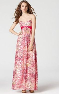 BCBGMAXAZRIA's maxi dress is made of a sumptuous silk blend for a luxe feel. A bright print is emboldened with flecks of metallic detail, adding flashes of drama to the silhouette.   Silk/metallic; lining: silk/metallic   Sweetheart neckline   Side zipper   Strapless   Pleated bust   Asymmetrical, pleated, contrasting empire waistband   Allover print; metallic detail throughout   Lined   Floor length   Dry clean   Imported   Tag: Pink BCBG Dress, BCBG Maxi Dress